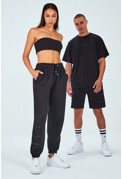 Black Hers Spliced Print Bandeau & Jogger Set