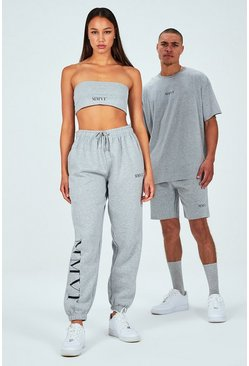 Grey Hers Spliced Print Bandeau & Jogger Set