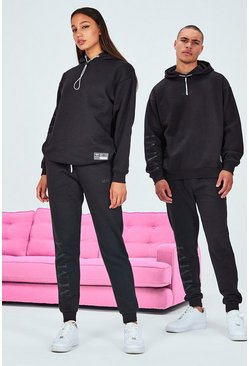 Black Hers Oversized Elastic Drawcord & Tab Tracksuit