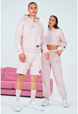 Pink His Printed Cropped Short Tracksuit With Drawcord