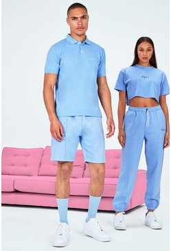 Blue His Pique Embroidered Polo & Pintuck Short Set