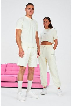 Stone His Pique Embroidered Polo & Pintuck Short Set