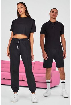 Black Hers Cropped T-Shirt & Pintuck Jogger Set
