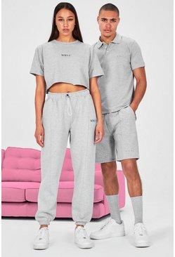 Grey Hers Cropped T-Shirt & Pintuck Jogger Set