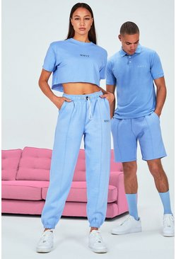 Blue Hers Cropped T-Shirt & Pintuck Jogger Set