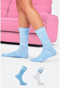 Blue 2 Pack Printed Socks