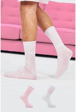 Pink 2 Pack Printed Socks