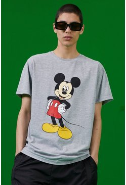 T-shirt imprimé Mickey Disney, Gris chiné