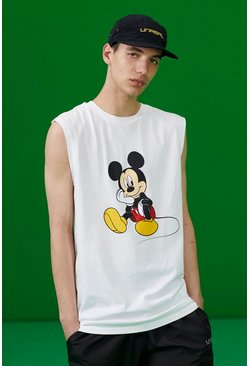 White Disney Mickey Printed Tank