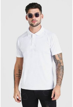 White Basic Raglan Stretch Polo
