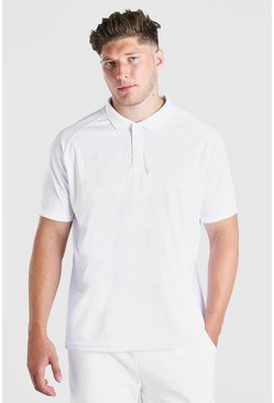 White Plus Size Raglan Stretch Polo