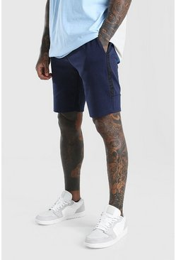 Navy Mid Length Jersey Short With Side Tape