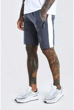 Charcoal Mid Length Jersey Short With Side Panel