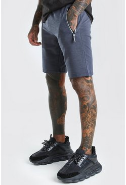 Charcoal Mid Length Jersey Short With Contrast Zip
