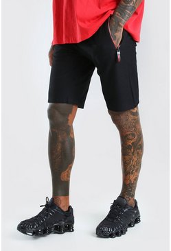 Black Mid Length Jersey Short With Side Zips