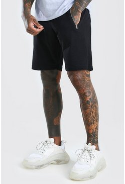 Black Mid Length Pique Short With Zips