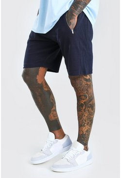 Navy Mid Length Pique Short With Zips