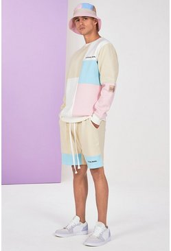 Stone Colour Block Tracksuit With Short
