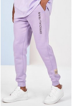Lilac grey 3D Embroidered Joggers