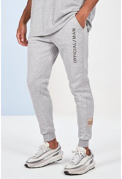 Grey marl Skinny Fit Jogger With Official Man Embroidery
