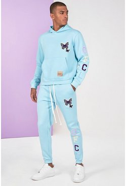 Blue Butterfly Text Tracksuit