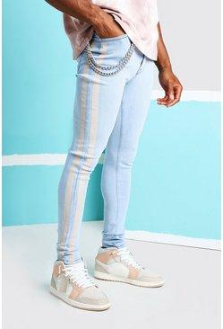 Ice blue Super Skinny Printed Stripe Jean