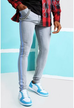 Grey Super Skinny Printed Stripe Jean with Chain