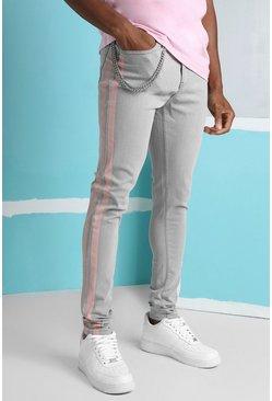 Grey Super Skinny Stripe Jean