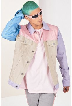 Pink Colour Block Denim Jacket