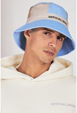 Blue Colour Block Bucket Hat