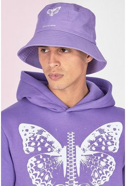 Lilac Butterfly Print Bucket Hat