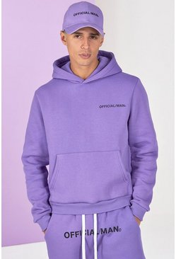 Lilac Boxy Official Man Front And Back Print Hoodie