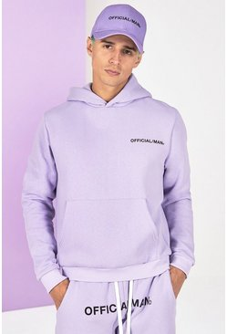 Lilac grey Boxy Official Man Front And Back Print Hoodie
