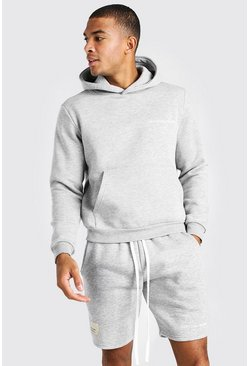 Grey marl Boxy Man Official Front And Back Print Hoodie