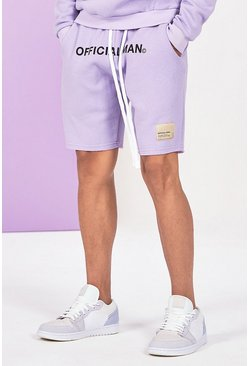 Lilac grey Mid Length Official Man Print Jersey Short