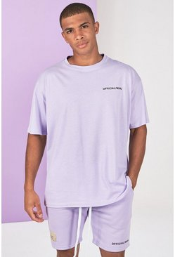Lilac grey Pigment Dye Tee And Short Set