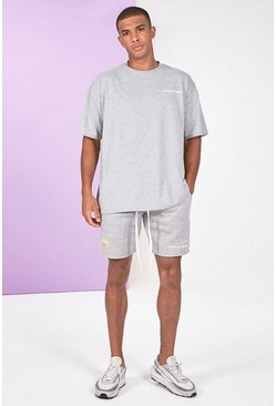 Grey marl Pigment Dye Tee And Short Set