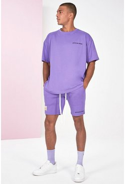 Lilac Pigment Dye Tee And Short Set