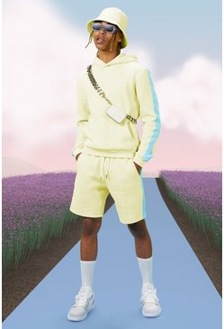 Yellow Boxy Official Man Hoodie With Side Tape