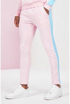Pink Skinny Fit Man Pintuck Jogger With Side Tape