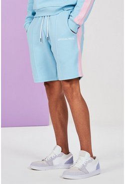 Blue Mid Length Man Pintuck Jersey Short With Side Tape