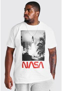 White Big and Tall NASA Launch License T-Shirt