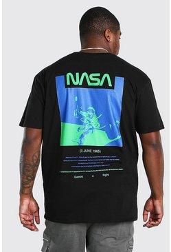 Black Big and Tall NASA Back Print License T-Shirt