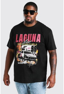 Black Big and Tall Laguna NASCAR Print T-Shirt