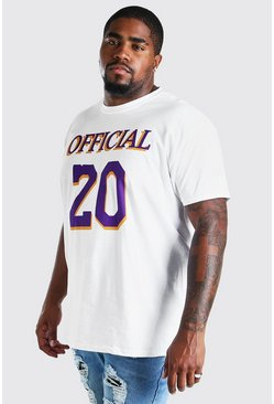 White Big and Tall Official 20 Print T-Shirt