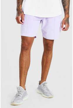 Lilac MAN Signature Towelling Pintuck Mid Length Shorts