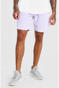 Lilac MAN Signature Towelling Pintuck Mid Length Shorts