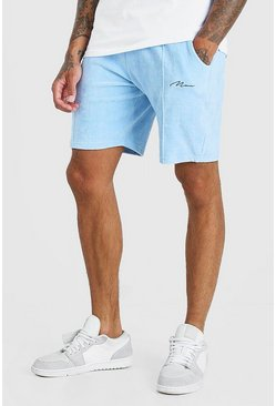 Cornflower blue Man Signature Towelling Pintuck Shorts