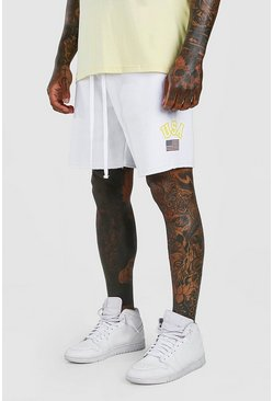 White Loose Fit Jersey Short With USA Print