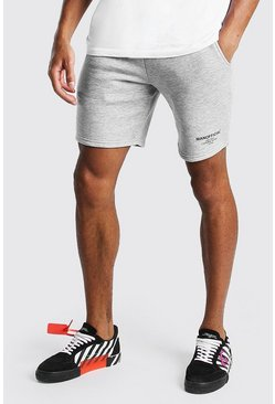 Black Official MAN Elastic Waistband Mid Length Short